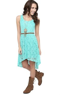 Deb Shops Lace High Low #Dress with Faux Leather Belt $17.45