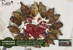 """Desde la Tierra que dan nombre a las """"sevillanas""""nos llega del Restaurante Baco en Avda. de Borbolla, 12, concretamente esta receta que elabora con productos de Caprichos del Paladar: ALCACHOFAS A LA PLANCHA CON JAMÓN Y PIMIENTO DEL PIQUILLO ¡ IMPRESIONANTE !"""