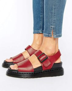 Dr. Martens Romi Red Leather Strap Flat Sandals
