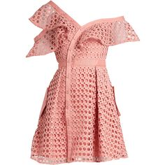 Self-portrait One-shoulder guipure-lace mini dress (1 980 PLN) ❤ liked on Polyvore featuring dresses, short dresses, red lace cocktail dress, short lace dress, red mini dress and short red dress