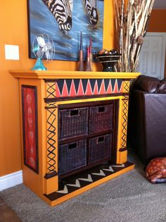 Turn a non-working fireplace into functional storage/art. This fireplace is a little much, but I LOVE the idea of installing storage bins into a nonworking fireplace!