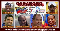 atletismo-carabobo.  El atletismo carabobeño, aporta al equipo Venezolano que nos representa en los Juegos Centroamericanos y del Caribe, Mexico-2014, un total de 5 atletas y un entrenador.