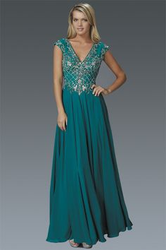 G2119 Cap Sleeve V Neck Beaded Chiffon Mother of Bride Dress Evening Gown Prom