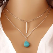 Bohemia Turquoise Double Chain Heart Pendant Necklace Punk Classic Summer Body…