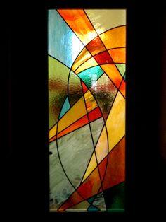 Vitrail abstrait porte intérieure : Vitraux d'Art Vanessa Dazelle