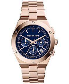 Michael Kors Women's Chronograph Reagan Rose Gold-Tone Stainless Steel Bracelet Watch 42mm MK6148