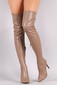 Breckelle Stretch Leather Pointy Toe Stiletto Heel Boots