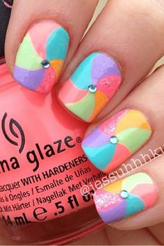 "These ""beach-ball"" nails are a great summer look"