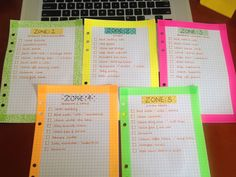 FlyLady Cleaning Zone Checklist in a Filofax