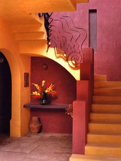 Beautiful Staircase Classic Design Yellow And Red House for Two Architects