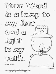 Coloring Pages for Kids by Mr. Adron: Your Word Is A Lamp to My Feet, Free Kid's Colorin. Coloring Pages for Kids by Mr. Adron: Your Word Is A Lamp to My Feet, Free Kid's Colorin. Free Kids Coloring Pages, Sunday School Coloring Pages, Bible Verse Coloring Page, Sunday School Lessons, Lessons For Kids, Bible Lessons, Preschool Bible, Bible Activities, Preschool Library