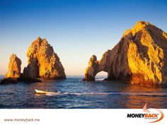 "MONEYBACK MEXICO. El Arco may be the most emblematic place in LOS CABOS. It's a rock formation on the tip of the peninsula reached by the ocean's water on high tide and exposed on low tide. It is also known as ""The end of the Earth"". It can be visited by renting a trip boat in the Marina of Cabo San Lucas with the option to go ashore. Shop in Los Cabos affiliated businesses and get a tax refund! #moneyback www.moneyback.mx"