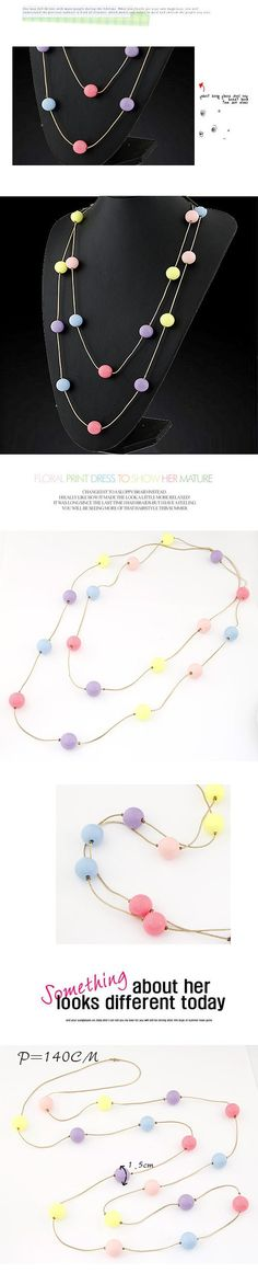 Native multicolor candy color beads decorated simple design rosin Korean Necklaces  www.asujewelry.com