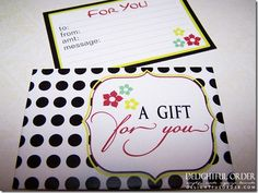 Cute envelope & note for gift cards!