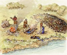 Burnt Mounds are named after the residue left from the practice of heating stones in a fire then plunging them into a trough of water. The hot water was used mostly for cooking and periodically the shattered stones and other detritus would be cleared out of the trough and deposited nearby, forming a crescent shaped mound.
