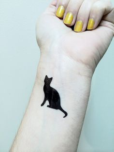 Cat Tattoo - Temporary Tattoo - Black Cat  - Kitty Cat Tat - Cattoo by SymbolicImports on Etsy https://www.etsy.com/listing/195876571/cat-tattoo-temporary-tattoo-black-cat