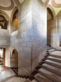 Simon Hudspith's inspiration: Castle Drogo by Edwin Lutyens. The granite-vaulted main staircase leading down to the dining room. Photo: Gareth Gardner