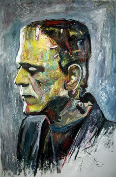 Boris Karloff - Frankenstein by Marcelo Neira Frankenstein Tattoo, Boris Karloff Frankenstein, Bride Of Frankenstein, Arte Horror, Horror Art, Scary Halloween, Halloween Recipe, Halloween Cupcakes, Dark Souls Art