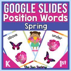 Spring Positional Words Activities for Digital Google Slides™   Spring Theme Preposition Activities, Spring Theme, Google Classroom, Four Seasons, Curriculum, Kindergarten, Positivity, Student, Songs