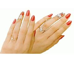 The fashion finger nail ring chain and tip silver rt 11 s rings 2