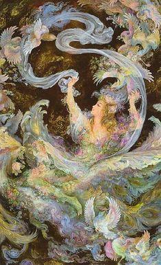 Metamorphosis or girl with birds . Iran Politics Club: Mahmoud Farshchian Online Gallery Persian Miniature Paintings - Ahreeman X Fantasy Paintings, Fantasy Art, Illustrations, Illustration Art, Dragons, Iranian Art, Goddess Art, Mystique, Islamic Art