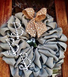 Custom Grey Burlap Monogram Wreath - Baby shower gift, nursery decor, wreath for hospital door on Etsy, $60.00