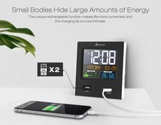 Digoo Time Calendar Format Switchable Temperature Humidity Display Dual Alarms Snooze Function NAP LED Backlight Alarm Clock with 2 USB Temperature And Humidity, Bars For Home, Digital Alarm Clock, Party Supplies, Calendar, Home And Garden, Usb, Display, Home Decor