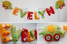 Handmade name banner, Mamas & Papas Jamboree theme. Available at www.facebook.com/heartworkshandmade :)