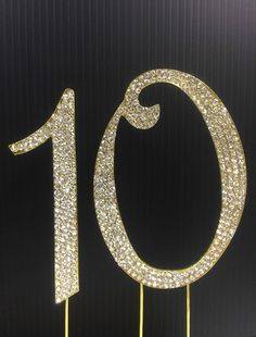 Rhinestone cake topper Gold number 10 Birthday Anniversary party * Don't get left behind, see this great product offer  : Baking decorations