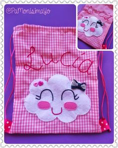 Bolsa para almuerzo o merienda / taleguita Modelo Nube para Lucía Felt Patterns, Craft Patterns, String Bag, Simple Bags, Baby Shawer, How To Dye Fabric, Fabric Bags, Diy For Kids, Crafts For Kids