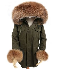 Longline Military Green Coat with Faux Fur Detail and Detachable Fluffy Cuffs