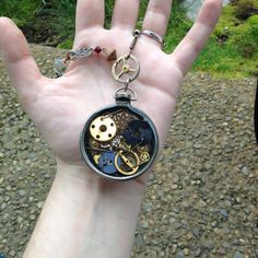 Resin steampunk pocket watch necklace by Steamworksdesign on Etsy