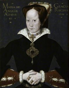 Mary I (Mary Tudor) (1516–1558), Aged 41 (after an original painting from 1556) by Hans Eworth (after) Oil on panel, 53.5 x 40.5 cm Collection: National Trust