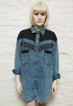 90's oversized navajo faded denim shirt Denim Button Up, Button Up Shirts, Denim Jacket With Dress, Denim Jackets, Denim Shirt, Navajo, Uni, Cloths, Passion