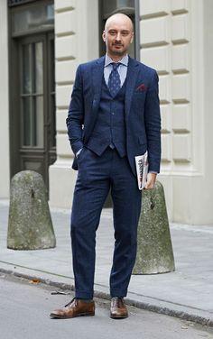 Latest Coat Pant Designs Navy Blue Tweed Men Suit Slim Fit 3 Piece Tuxedo Custom Groom Casual Blazer Prom Suits Terno Masculino