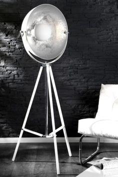... -Stehleuchte-CINEMA-weiss-silber-Retro-Design-Lampe-Spotleuchte-NEU
