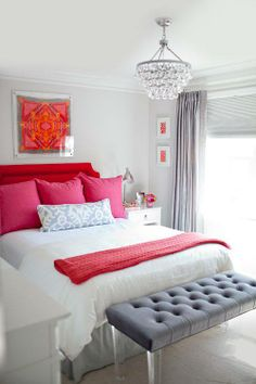 red pink and gray bedroom...love the bench and light