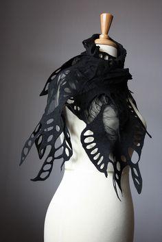 Nuno felted fashion scarf  wool silk spring Black by VitalTemptation , Etsy, via Flickr