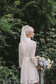 ophelia: an enchanting fashion + boudoir editorial Mini Wedding Dresses, Wedding Gowns, Short Wedding Veils, Polka Dot Wedding Dress, Short Bride, Mod Wedding, Wedding Bride, Wedding Pics, Trendy Wedding