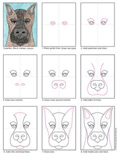How to draw doberman dog. PDF tutorial available. Art Projects for Kids. #doberman #howtodraw