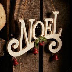 Love the red Jingle Bells ♥ Winter Things, All Things Christmas, Christmas Presents, Nordic Christmas, Christmas Ideas, Wooden Words, Christmas Party Decorations, Santa Clause, Hanging Signs