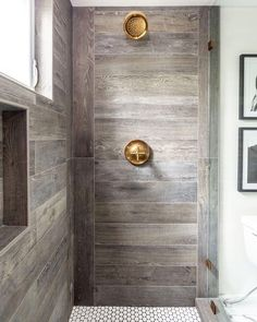 """97 Likes, 3 Comments - Leslie May Designs (@lesliemaydesigns) on Instagram: """"The prettiest farmhouse shower! Design by @juxtaposedinterior  #inspiration #farmhouse #woodtile…"""""""