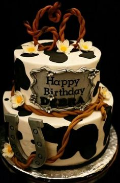 Buttercream with fondant accents. Black, white, and silver. Western Birthday Cakes, Western Cakes, 80 Birthday Cake, 75th Birthday, Birthday Ideas, Birthday Parties, Cowboy Hat Cake, Cowboy Theme, Cowboy Party