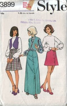 style 3899 vintage 70s mod skirt vest and blouse by vintagevice, $8.00