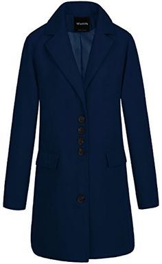 25c73dab56244 Wantdo Womens Notched Lapel Collar Midlength Winter Trench Coat XLarge Navy    Learn more by visiting