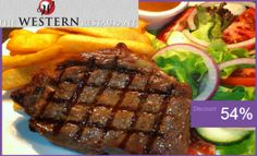 instead of for Steak Dinner for 2 Served with Onion Rings, Side Salad, Homemade Steakhouse Fries & Pepper Sauce at The Western Restaurant! Western Restaurant, Restaurant Bar, Steak Dinners For Two, Dinner For 2, Meal Deal, Side Salad, Beef, Stuffed Peppers, Homemade