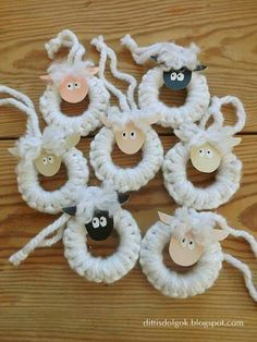 You are in the right place about Diy Wool Easter Crafts, Diy And Crafts, Christmas Crafts, Crafts For Kids, Christmas Decorations, Christmas Ornaments, Curtain Rings Crafts, Curtains With Rings, Sheep Crafts