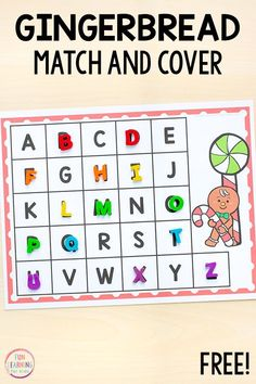 Gingerbread match and cover alphabet activity for Christmas literacy centers in preschool and kindergarten Gingerbread Man Activities, Preschool Christmas Activities, Preschool Literacy, Printable Activities For Kids, Alphabet Activities, Literacy Centers, Language Activities, Winter Activities, Christmas Math