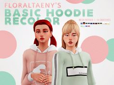 """floraltaeny:"""" FLORALTAENY'S BASIC HOODIE RECOLOR• 16 swatches• Mesh needed here from @rusty-sims• 2 """"Oakland"""" design, 7 """"FloralTaeny"""" & striped sleeves design, 7 doodle designDOWNLOAD: SimfileshareBUY ME A COFFEE: Donate"""" Sims 4 Mods, Sims 4 Game Mods, Sims Games, Sims Four, Sims 4 Mm Cc, Sims 1, Maxis, Basic Hoodie, Sims4 Clothes"""