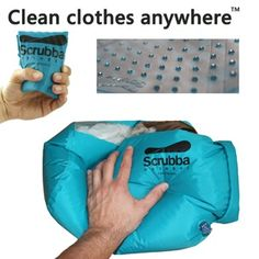 The Scrubba Wash Bag. Clean your cloths on the go using this dry bag with a washboard insert and a small amount of whatever 'soap' you have with you. --- Clean Socks Between Hikes?! If only it wasn't $65 for a freaking stuff sack. (DIY?)